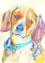 Load image into Gallery viewer, Beagle dog Painting Beagle dog art print hand signed Colorful fine art orange yellow blue  print dog portrait - Dog portraits by Oscar Jetson