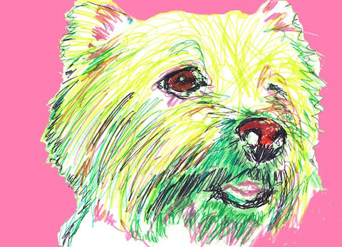 West highland terrier Westie dog art print Dog Painting, Pink and lime green abstract  Print of watercolor and acrylic west highland dog art - Dog portraits by Oscar Jetson - 1