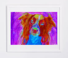 Load image into Gallery viewer, Border Collie Abstract Painting Print Collie dog art print Artist Signed Colorful Collie lover Art Dog painting Red Collie dog art print - Dog portraits by Oscar Jetson