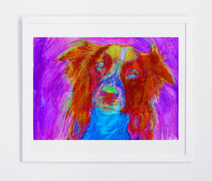Border Collie Abstract Painting Print Collie dog art print Artist Signed Colorful Collie lover Art Dog painting Red Collie dog art print - Dog portraits by Oscar Jetson
