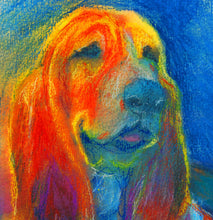 Load image into Gallery viewer, Basset hound dog Painting print, Orange blue dog art print, Colorful Basset hound dog print,gift for Basset hound owner, Dog art print - Dog portraits by Oscar Jetson