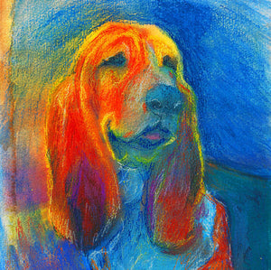 Basset hound dog Painting print, Orange blue dog art print, Colorful Basset hound dog print,gift for Basset hound owner, Dog art print - Dog portraits by Oscar Jetson