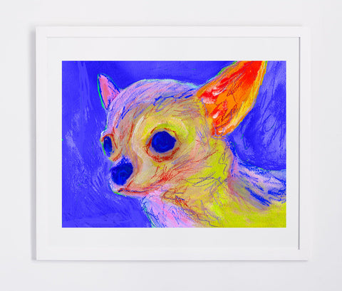Chihuahua Abstract Painting Print Chihuahua dog art print Artist Signed Colorful Chihuahu lover Art Dog painting Chihuahua dog art print - Dog portraits by Oscar Jetson - 1