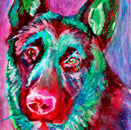 German Shepherd painting dog art print colorful dog modern art gsd lover , gift for German Shepherd owner, alsatian painting, GSD picture - Dog portraits by Oscar Jetson