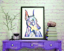 Load image into Gallery viewer, Doberman wall art, Doberman art Print, Doberman mom, Doberman gift,Dobie painting ,Dog watercolor, doberman owner, Colorful Doberman - Dog portraits by Oscar Jetson
