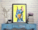 Doberman Painting wall art Print, Dobie gift idea, Dog watercolor and acrylic, Doberman owner gift idea Colorful Doberman art print - Dog portraits by Oscar Jetson