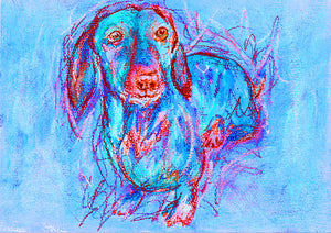 Dachshund owner Gift, Dog Painting, Pastel and watercolour, Blue and red dachshund dog painting art print 8x10, Dachshund art print - Dog portraits by Oscar Jetson