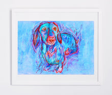 Load image into Gallery viewer, Dachshund owner Gift, Dog Painting, Pastel and watercolour, Blue and red dachshund dog painting art print 8x10, Dachshund art print - Dog portraits by Oscar Jetson