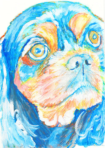 King Charles Spaniel, Cavalier King Charles Painting, wall art Print, Cavie gift idea, Cav Dog art, spaniel owner gift, Colorful spaniel art - Dog portraits by Oscar Jetson