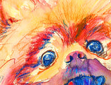 Pomeranian Dog painting Deutscher Spitz; Zwergspitz; Spitz nain; Spitz enano; Pom; Zwersdog Abstract warm tones Pomeranian wall art print - Dog portraits by Oscar Jetson