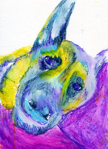 German Shepherd Dog painting art print GSD gift idea, GSD lover Alsatian painting print Blue yellow abstract home decor GSD dog painting - Dog portraits by Oscar Jetson
