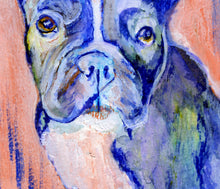 Load image into Gallery viewer, French Bulldog Dog Painting Vivid blues salmon pink French Bull Print , watercolor art  print Frenchie Dog Art France bulldog wall art print - Dog portraits by Oscar Jetson
