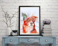 Load image into Gallery viewer, Border collie sheep Dog Painting Vivid Red collie dog Print , watercolor art  print Collie Dog Art 8x10.. 11x14 collie dog wall art print - Dog portraits by Oscar Jetson