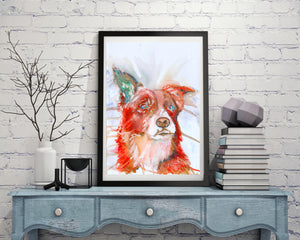 Border collie sheep Dog Painting Vivid Red collie dog Print , watercolor art  print Collie Dog Art 8x10.. 11x14 collie dog wall art print - Dog portraits by Oscar Jetson