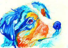 Load image into Gallery viewer, Australian Shepherd Dog painting Aussie dog Oz shepherd gift idea, Abstract colorful Australian shepherd dog wall art print - Dog portraits by Oscar Jetson