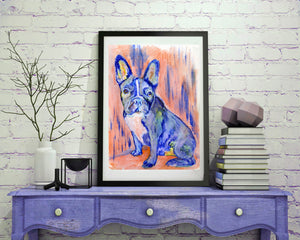 French Bulldog Dog Painting Vivid blues salmon pink French Bull Print , watercolor art  print Frenchie Dog Art France bulldog wall art print - Dog portraits by Oscar Jetson