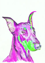 Load image into Gallery viewer, Doberman art Pink and Green Dog Painting Vivid colors dobie Print , watercolor art  print Dobie Dog Art gift wall art doberman print - Dog portraits by Oscar Jetson