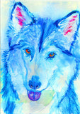 Husky Dog painting,Gift for Husky owner, 8x10 husky, 11x14 husky, colorful Sibe Husky painting,Blue Siberian Husky dog wall art print - Dog portraits by Oscar Jetson