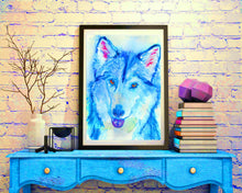 Load image into Gallery viewer, Husky Dog painting,Gift for Husky owner, 8x10 husky, 11x14 husky, colorful Sibe Husky painting,Blue Siberian Husky dog wall art print - Dog portraits by Oscar Jetson