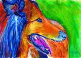 Rough Collie Dog painting collie dog gift idea 8x10, 11x14, Abstract colorful dog lover abstract orange collie dog wall art print - Dog portraits by Oscar Jetson