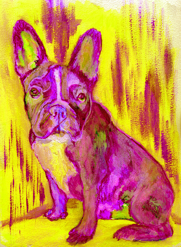 French Bulldog Painting Bright Pink art Print , watercolor acrylic Frenchie Frances bulldog Art french bulldog gift idea wall art print - Dog portraits by Oscar Jetson