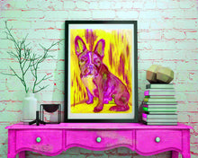 Load image into Gallery viewer, French Bulldog Painting Bright Pink art Print , watercolor acrylic Frenchie Frances bulldog Art french bulldog gift idea wall art print - Dog portraits by Oscar Jetson