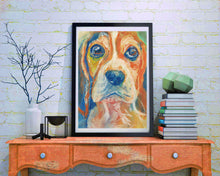 Load image into Gallery viewer, Beagle Dog Painting Orange, Blue, Beagle Print , watercolor and pastel art  print Beagle Dog Art Beagle gift idea Beagle wall art print - Dog portraits by Oscar Jetson