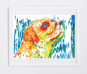 Labrador Dog Painting Orange Yellow Blue, Lab dog Print , acrylic painting, labrador retriever print ,Dog Art, gift idea Labrador art print - Dog portraits by Oscar Jetson