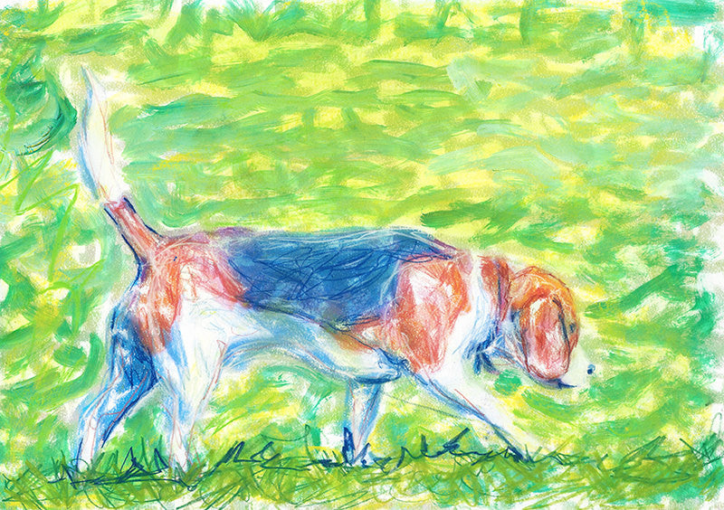 Beagle art print, Dog Painting, Beagle gift idea, Beagle lover, dog wall art Print watercolor and pastel beagle home decor, beagle art print - Dog portraits by Oscar Jetson
