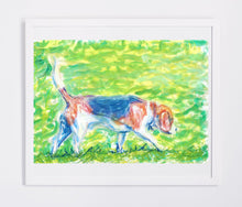 Load image into Gallery viewer, Beagle art print, Dog Painting, Beagle gift idea, Beagle lover, dog wall art Print watercolor and pastel beagle home decor, beagle art print - Dog portraits by Oscar Jetson