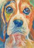 Beagle Dog Painting Orange, Blue, Beagle Print , watercolor and pastel art  print Beagle Dog Art Beagle gift idea Beagle wall art print - Dog portraits by Oscar Jetson