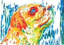 Load image into Gallery viewer, Labrador Dog Painting Orange Yellow Blue, Lab dog Print , acrylic painting, labrador retriever print ,Dog Art, gift idea Labrador art print - Dog portraits by Oscar Jetson