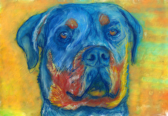 Rottweiler Dog Painting Orange Yellow Blue, Rottie Print , pastel portrait,Rottweiler wall art print ,Dog Art, gift idea Rottweiler print - Dog portraits by Oscar Jetson