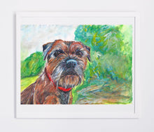 Load image into Gallery viewer, Border Terrier Dog Painting earth and woodland tones,Border terrier Print , acrylic painting print,Border terrier gift,Dog art print - Dog portraits by Oscar Jetson