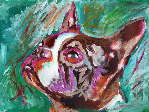 Boston bull terrier gift, Dog Painting - Signed Print from original acrylic boston terrier dog painting 8x10, 11x14,boston bull art print - Dog portraits by Oscar Jetson