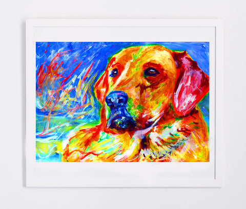 Colorful Labrador Dog Painting,8x10 Lab print 11x14 Yellow Lab print,Labrador owner gift,Lab dog painting,Labrador picture,Lab dog art print - Dog portraits by Oscar Jetson