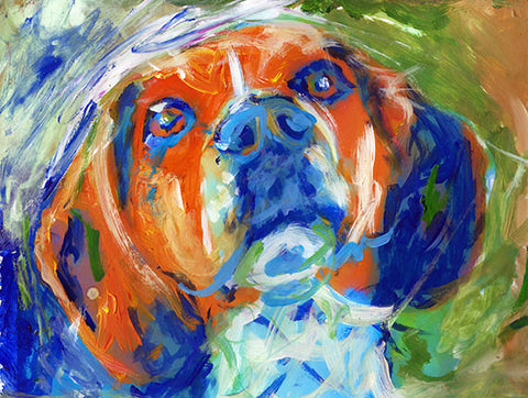 Beagle dog painting,beagle owner gift,beagle wall art, beagle picture, beagle print, abstract expressive beagle,beagle wall art print - Dog portraits by Oscar Jetson
