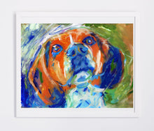 Load image into Gallery viewer, Beagle dog painting,beagle owner gift,beagle wall art, beagle picture, beagle print, abstract expressive beagle,beagle wall art print - Dog portraits by Oscar Jetson