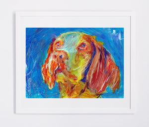 Brittany Spaniel dog painting,dog gift idea, Dog portrait, Brittany dog Brittany Wiegref Epagneul Breton French Brittany wall art print - Dog portraits by Oscar Jetson