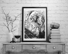 Load image into Gallery viewer, Boxer Dog drawing,charcoal boxer dog art print,charcoal Boxer dog, lazy sleeping Boxer dog portrait, Boxer dog owner gift ,Boxer dog drawing - Dog portraits by Oscar Jetson