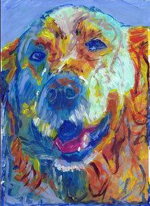 Golden retriever Dog Painting, Print of Original Art 8x10,11x14, yellow orange, golden retriever gift, dog painting,retriever dog art print. - Dog portraits by Oscar Jetson
