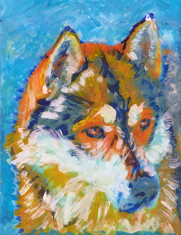 Siberian Husky dog painting, Gift for Husky owner, Dog portrait, Husky dog picture, colorful husky painting wall art print - Dog portraits by Oscar Jetson - 1