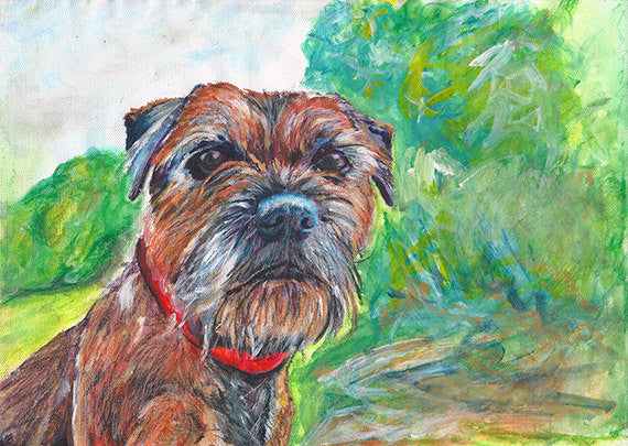 Border Terrier Dog Painting earth and woodland tones,Border terrier Print , acrylic painting print,Border terrier gift,Dog art print - Dog portraits by Oscar Jetson