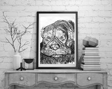 Load image into Gallery viewer, Boxer dog charcoal print, Boxer dog portrait, black and white charcoal boxer drawing,Boxer dog gift, dog lover gift ,Boxer dog drawing print - Dog portraits by Oscar Jetson