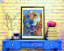 Load image into Gallery viewer, Golden retriever Dog Painting, Print of Original Art 8x10,11x14, yellow orange, golden retriever gift, dog painting,retriever dog art print. - Dog portraits by Oscar Jetson
