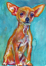 Load image into Gallery viewer, Chihuahua Dog Painting orange, Chihuahua Print , watercolor wall art  print Dog Art Chihuahua gift idea art print - Dog portraits by Oscar Jetson