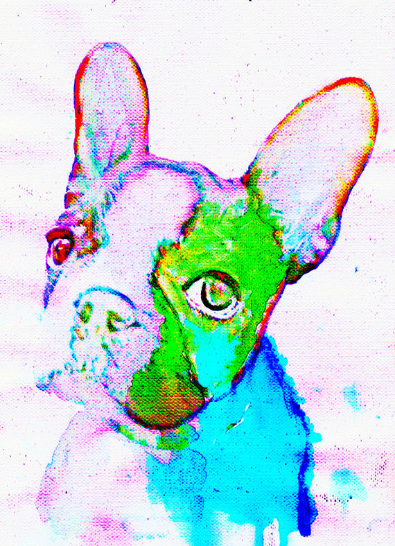French Bulldog Painting print, Forest green and aqua marine, Bulldog,watercolor art print,Gift for French bulldog owner,French bulldog print - Dog portraits by Oscar Jetson