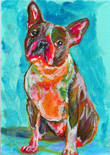 Load image into Gallery viewer, Boston terrier painting dog Painting green, boston bull Print , watercolor, art  print, boston Dog Art, boston bull terrier art print - Dog portraits by Oscar Jetson
