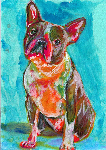 Boston Terrier Painting Dog Painting Green Boston Bull Print - Bull terrier art