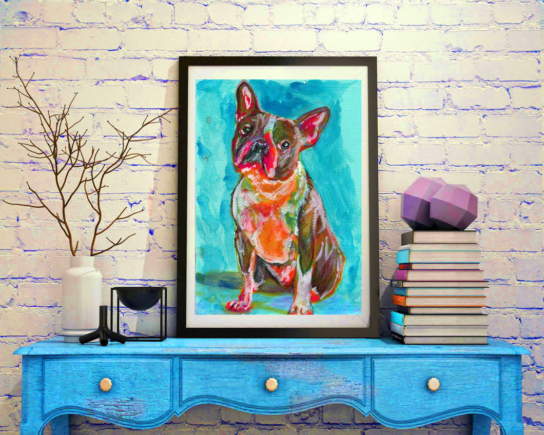 Boston terrier painting dog Painting green, boston bull Print , watercolor, art  print, boston Dog Art, boston bull terrier art print - Dog portraits by Oscar Jetson